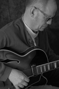 Jazz Guitar Player Black and White
