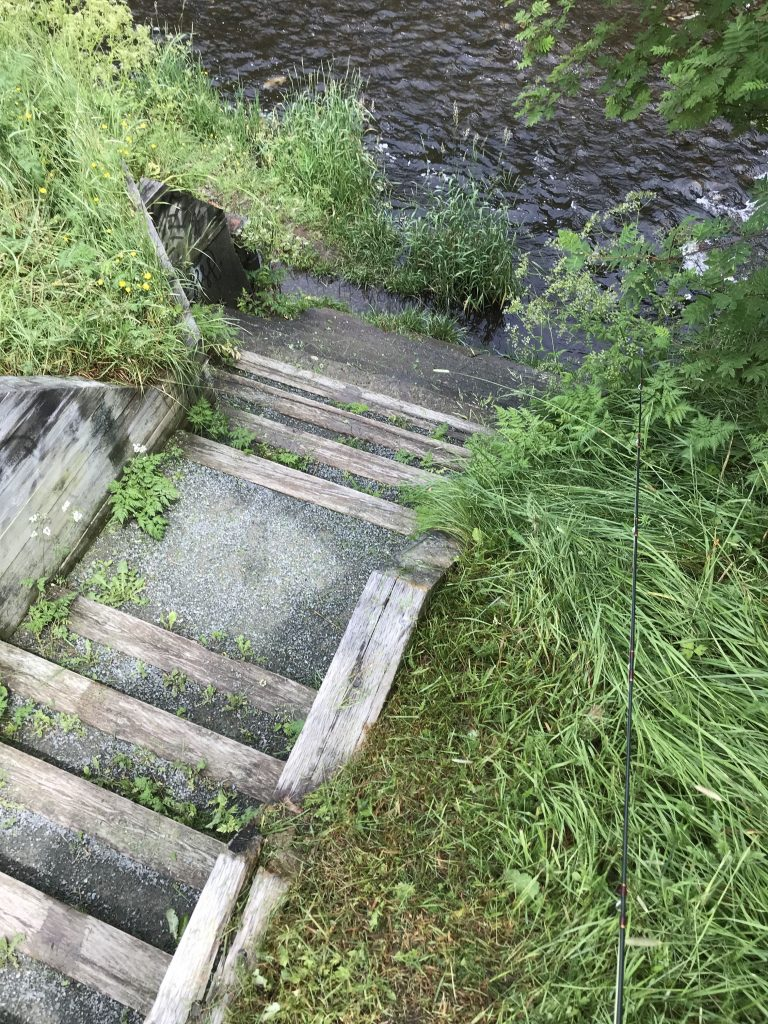Steps leading down to the Rennie's Mill River